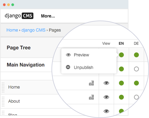 CMS for developers and content editors - The new page tree in django CMS version 3.3